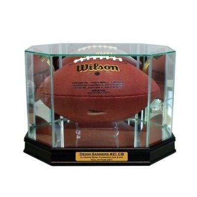 New Deion Sanders Dallas Cowboys Glass and Mirror Football Display Case UV