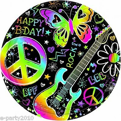 Neon Doodle Party Supplies (NEON DOODLE LARGE PAPER PLATES (8) ~ Birthday Party Supplies Lunch Dinner)