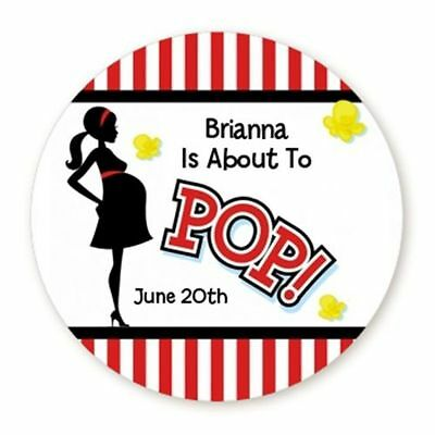 About To Pop Red - Round Personalized Baby Shower Sticker Labels