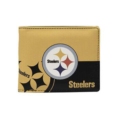 Pittsburgh Steelers Colors (Pittsburgh Steelers Mens Wallet Bi-fold Colorful Leather NFL Football)