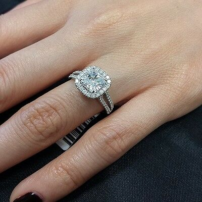 2.25 Ct Cushion Cut Halo U-Setting Split Shank Diamond Engagement Ring F VS1 GIA