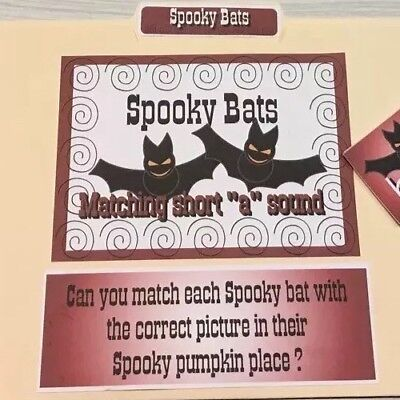File Folder Game - Laminated - Activity Set -Teaching Supplies READING Halloween - Halloween Game Activities