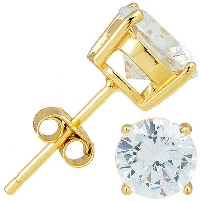 Sterling Silver 925 Gold Plated Brilliant Round Cut CZ Stud Earrings 3MM - 10MM (Brilliant Cut Butterfly Earrings)
