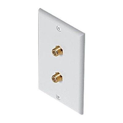 Eagle Dual F Wall Plate White Gold Coaxial F-81 75 Ohm White Coaxial Cable Jack Gold Dual Wall Plate