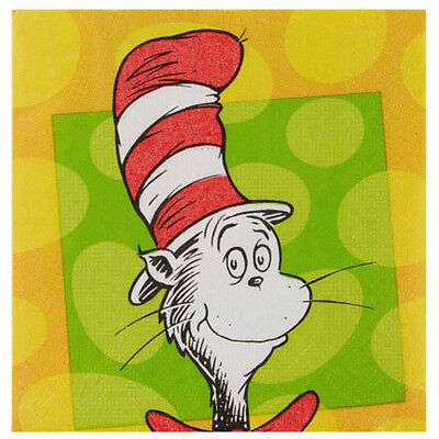 DR. SEUSS Polka Dots SMALL NAPKINS (16) ~ Birthday Party Supplies Cat in the Hat - Dr Seuss Napkins