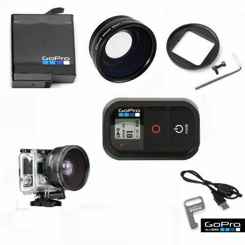 GOPRO HERO6 HERO7 BLACK WIDE ANGLE LENS +WIFI REMOTE + AABAT001 ORIGINAL BATTERY