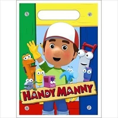 HANDY MANNY FAVOR BAGS (8) ~ Birthday Party Supplies Treat Loot Goody Sack Blue