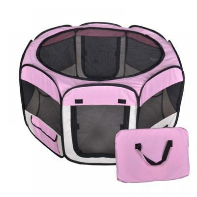 Small Pet Dog Cat Tent Playpen Exercise Play Pen Soft Crate Fence w/ Case Pink +