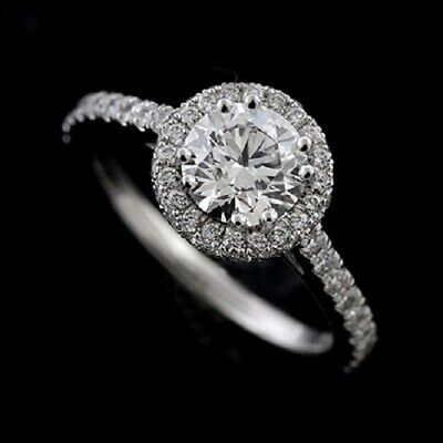 Halo Style Micro Pave PLatinum Engagement Ring Mounting ()