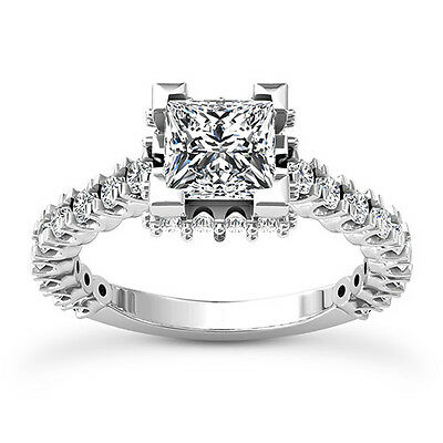 1 CT Diamond Engagement Ring Princess Cut D/VS2 14K White Gold Natural Enhanced