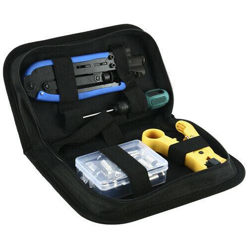 Compression Tool Coax Cable Crimper Kit, Adjustable RG6 Coaxial Cable Stripper