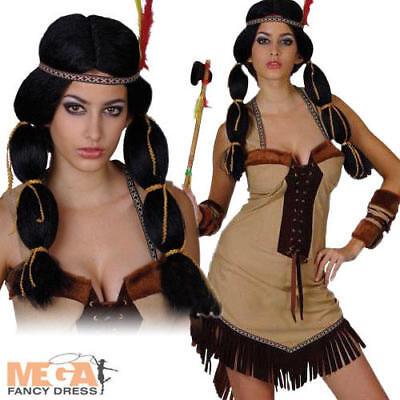 Indian Princess Costume + Wig Ladies Western Cowboys  Indians Womens Fancy Dress
