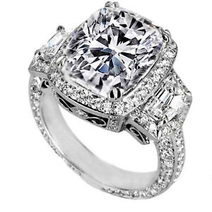 5.30 Carat E SI1 Cushion Cut Three-Stone Diamond Engagement Ring 18k White Gold