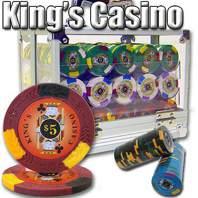 New 600 Kings Casino 14g Clay Poker Chips Set with Acrylic Case - Pick Chips! ()