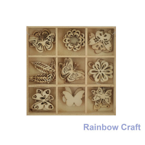 Kaisercraft Wooden Flourish packs / storage box 74 selections - Butterfly