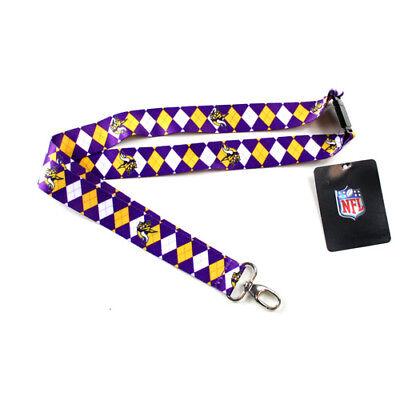 NFL Minnesota Vikings Argyle Lanyard Clip Keychain Key Ring Badge Holder Minnesota Vikings Clip Holder