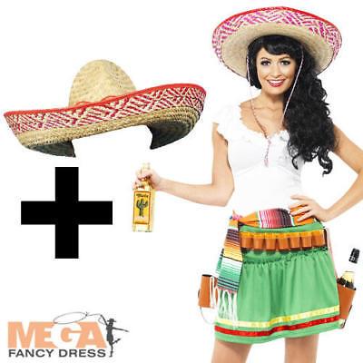 Tequila Shooter Girl + Hat Mexican Fancy National Dress Ladies Western - Tequila Girl Kostüm