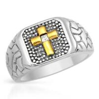 NEW STYLISH 3 TONE CROSS STAINLESS STEEL RING