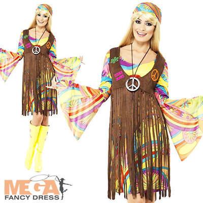 1960s Groovy Lady Fancy Dress Womens Hippie Costume 60s-70s Hippy Ladies - Women's 1960's Groovy Lady Kostüm