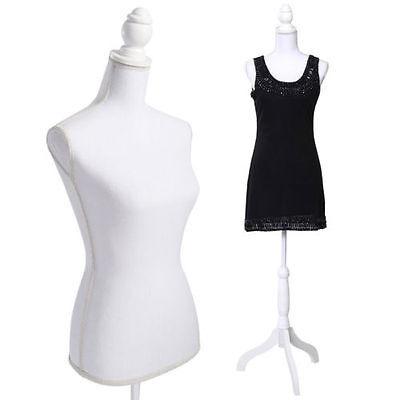 White Female Mannequin Torso Dress Form Display W/ WhiteTripod Stand New