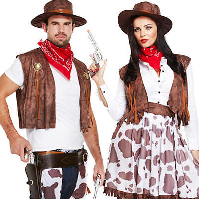 Cowboy & Cowgirl Couple Fancy Dress Adults Mens Ladies Western Rodeo Costume