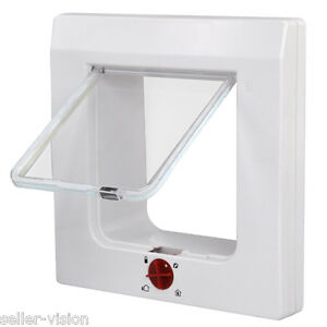 White Magnetic 4 Way Locking Pet Cat Kitten Flap 60mm For Front Back Door