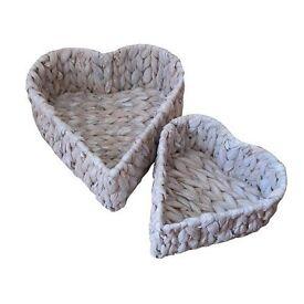 White Water Hyacinth Heart Shaped Storage Baskets - Set of 2