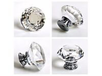16X 40MM Clear Diamond Crystal Glass Door Knobs Drawer Cabinet Furniture Kitchen makeover