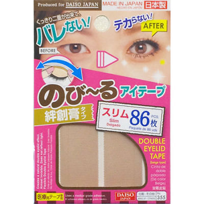 DAISO Double Fold Eyelid Adhesive Tape Nude Sticker 355 ~ Made in Japan ~ 86 pcs