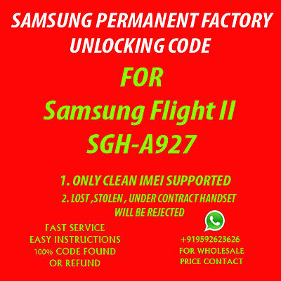 Samsung Flight II UNLOCK CODE AT&T NO OR OUT OF CONTRACT PHONE ONLY SGH A927 (Unlock Samsung A927 Phone)
