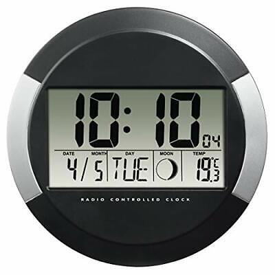 """Hama Horloge murale """"PP-245"""" (radio-pilotée DCF, pendule sans tic tac, numérique"""