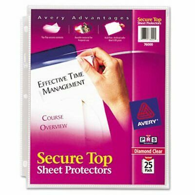 Avery Secure Top Sheet Protectors Letter Clear 25 Sheets Ave76000