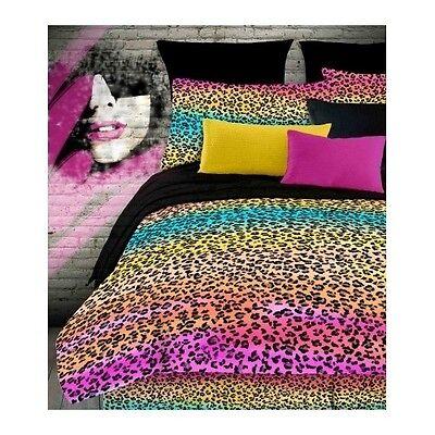 Leopard Print Comforter Set Queen Bedding Rainbow Animal Bedspread Sham Teen - Rainbow Animal Print