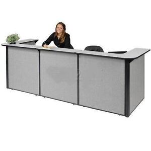 U-Shaped Reception Station, 124W x 44D x 44H, Gray Counter, Gray Panel - BRAND NEW - FREE SHIPPING