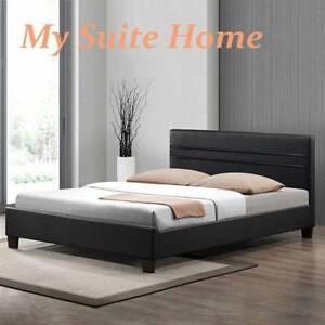 <WAREHOUSE SALE>Denny White/Black Leather Double/Queen Size Bed Melbourne CBD Melbourne City Preview