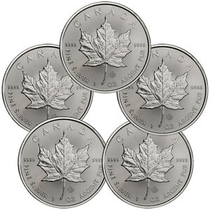 Lot of 5 - 2014 Canada 1 Troy Oz .9999 Silver Maple Leaf