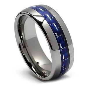 8MM Mens Tungsten Wedding Band His Blue Carbon Fiber Ring High Polish Ring