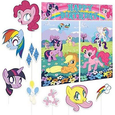 MY LITTLE PONY Scene Setter BIRTHDAY party wall decoration + 8 photo booth props - Pony Birthday Party