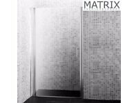 Matrix 900mm Premium Barrel Hinged Shower Door 6mm Glass - PEPV90