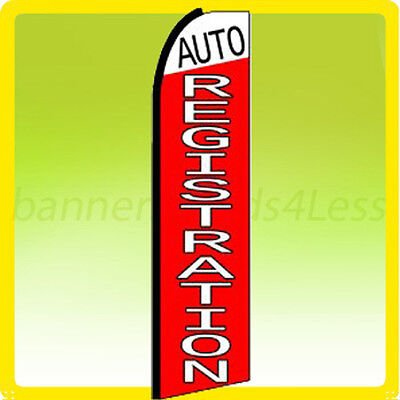Auto Registration - Swooper Flag Feather Flutter Banner Sign 11.5 Tall - Rq