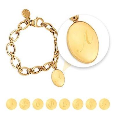 14k Gold Plated Changeable Charm Bracelet w/ Alphabet A-Z Letter Initial Locket