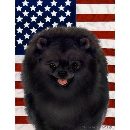 Patriotic (D2) Garden Flag - Black Pomeranian 322551