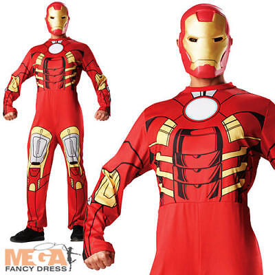 Iron Man + Mask Mens Avengers Superhero Movie Character Adults Costume Outfit (Mens Movie Character Costumes)