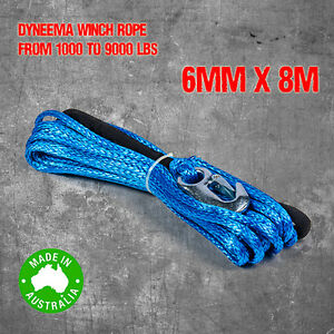 Dyneema-SK75-Synthetic-Winch-Rope-Cable-6mm-x-8m-4WD-Boat-Recovery-Offroad