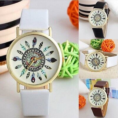 Hot Sale Womens Feather Dial Leather Band Quartz Analog Wrist Watches