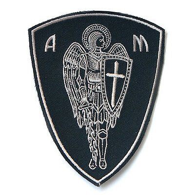 VEGASBEE® ARCHANGEL ST.MICHAEL CROSS SHIELD SWORD CHRISTIAN BIKER IRON-ON PATCH