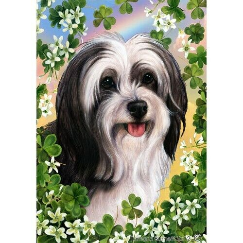 Clover House Flag - Black and White Tibetan Terrier 31478