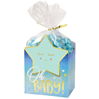 Boy Favor Bag (BABY SHOWER Hello World Boy FAVOR BOXES w/ BAGS (8ct ea.) ~ Party Supplies Treat )