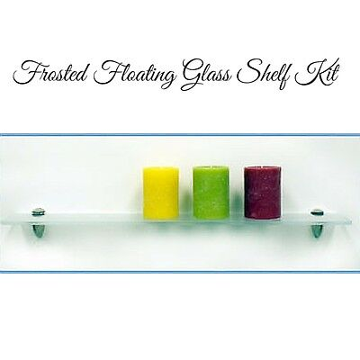 "4"" x 27"" INCH FROSTED FLOATING GLASS SHELF 5/16"" Thick"
