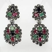 Emerald Ruby Sapphire Earrings